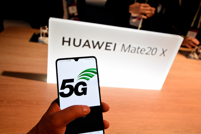 New smartphone of the Huawei brand mate 20 X is seen during the Mobile World Congress 2019 in Barcelona. [File photo: IC]