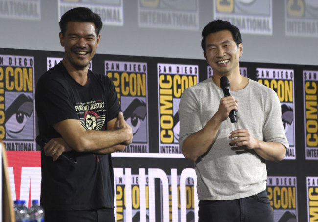 """Destin Daniel Cretton, left, and Simu Liu speaks during the """"Shang-Chi and The Legend of the Ten Rings"""" portion of the Marvel Studios panel on day three of Comic-Con International on Saturday, July 20, 2019, in San Diego. [Photo: IC]"""