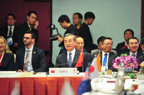 Chinese State Councilor and Foreign Minister Wang Yi attends the East Asia Summit Foreign Ministers' Meeting in Bangkok, capital of Thailand, on Friday, August 2, 2019. [Photo: fmprc.gov.cn]