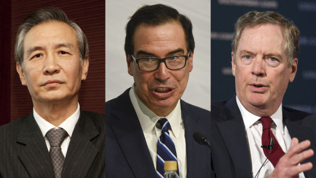 Chinese Vice Premier Liu He (L), U.S. Treasury Secretary Steven Mnuchin (C) and Trade Representative Robert Lighthizer. [File Photo: China Plus]