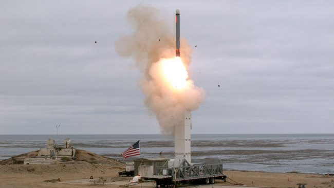 A handout photo made available by the US Department of Defense shows a flight test of a conventionally configured ground-launched cruise missile at San Nicolas Island, California, USA, at 2:30 p.m. Pacific Daylight Time on 18 August 2019. [File photo: US Department of Defense Handout/EPA via IC/Scott Howe]