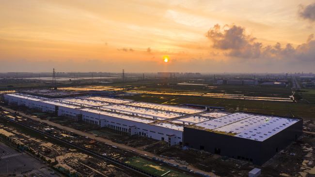 An aerial view of Tesla's Gigafactory in Shanghai. [File Photo: VCG]
