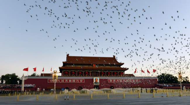 Pigeons are released during the celebrations marking the 70th anniversary of the founding of the People's Republic of China in Beijing on Tuesday, October 1, 2019. [Photo: VCG]