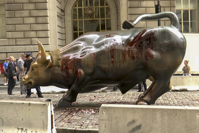 "In this freeze frame made from a video stage blood covers the iconic ""Charging Bull"" statue near Wall Street on Monday Oct. 7, 2019, in New York. [Photo: AP/Ted Shaffrey]"