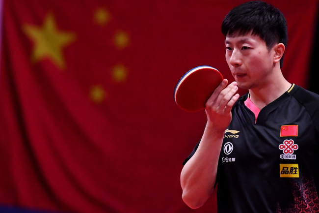Ma Long of China in action in the Men's Singles Quarterfinals match against Lin Gaoyuan of China during the ITTF World Tour Australia Open 2019 in Geelong, Australia, 13 July 2019. [Photo: IC]