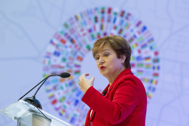 Kristalina Georgieva, the managing director of the International Monetary Fund, gives her curtain-raiser speech in Washington on Tuesday, October 8, 2019, ahead of the organization's annual meetings on October 14-20. [Photo: IC]