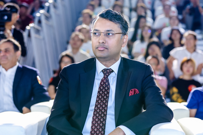 Prasanna Shrivastava, a political counsellor at the Embassy of India in China, at the China-India Youth Talks in Beijing on September 28, 2019. [Photo: China Plus]