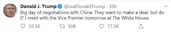 U.S. President Donald Trump tweets on Thursday, October 10, 2019 saying that he would meet Chinese Vice-Premier Liu He at the White House on Friday on the sidelines of the new round of China-U.S. high-level economic and trade consultations. [Screenshot: China Plus]