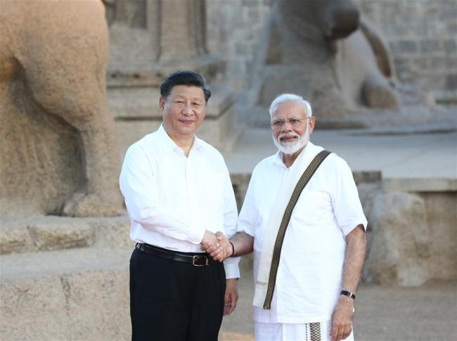 Chinese President Xi Jinping meets with Indian Prime Minister Narendra Modi in the southern Indian city of Chennai, Oct. 11, 2019. [Photo: Xinhua/Ju Peng]