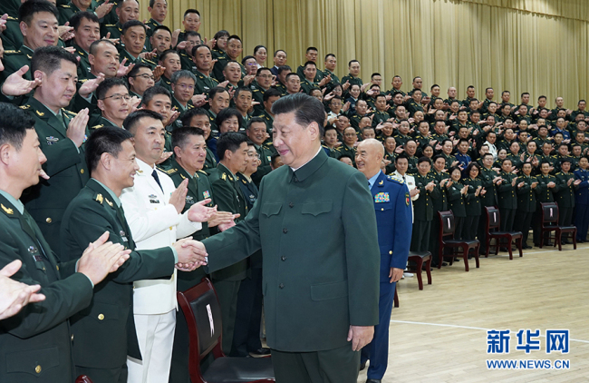 Chinese President Xi Jinping meets with delegates to the first Party congress of the People's Liberation Army (PLA) Joint Logistic Support Force and senior officers stationed in central China's Hubei Province, October 18, 2019. [Photo: Xinhua]