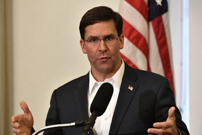 In this Friday, Oct. 4, 2019 file photo, Defense Secretary Mark Esper speaks to a gathering of soldiers at the University Club at the University of Louisville in Louisville, Kentucky. [File Photo: AP/Timothy D. Easley]