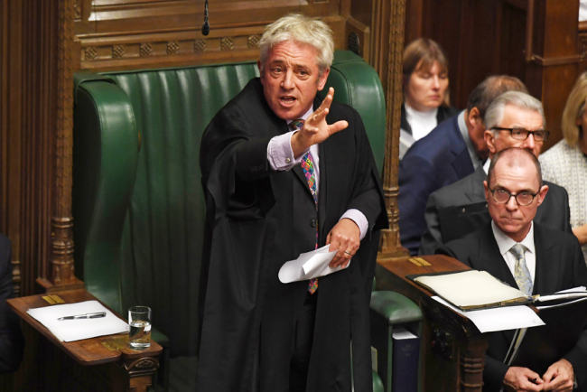 A handout photograph released by the UK Parliament shows UK Parliament Speaker John Bercow speaking in the House of Commons in London on October 21, 2019, on the European Union (EU) Withdrawal Act 2018 Motion. [Photo: AFP/Uk Parliament/Jessica Taylor]