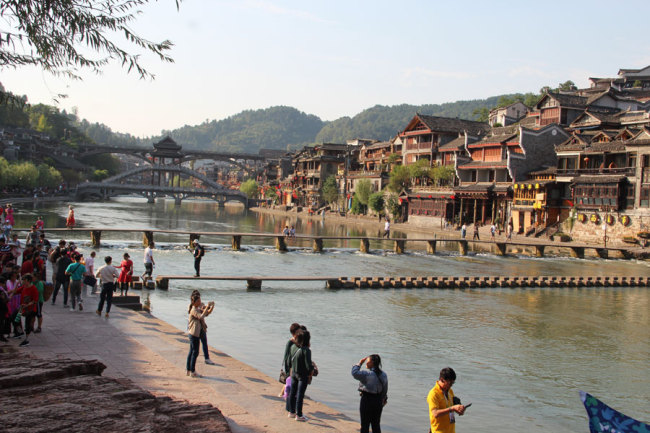 Fenghuang Ancient town and Tuojiang River are in Hunan. On the left of the river, the residence of Premier Xiong Xiling (Republic of China 1913-14) is located. [Photo courtesy of Melsam Ojha]