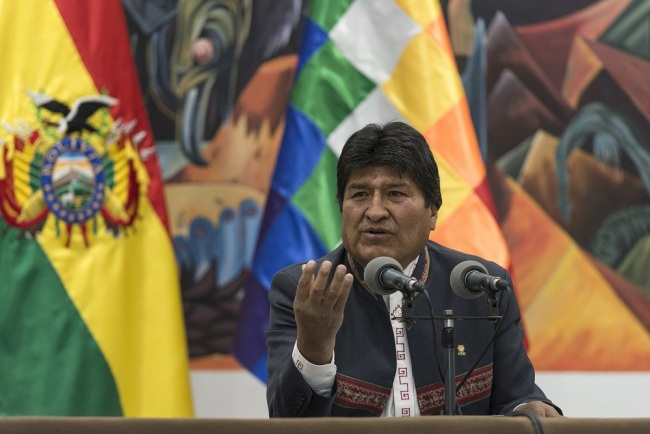 Evo Morales, Bolivia's president, speaks during a press conference at the Presidential Palace in La Paz, Bolivia, on Thursday, Oct. 24, 2019. [Photo: VCG]