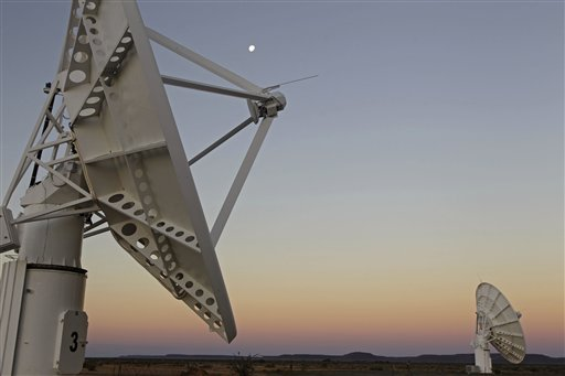 This photo taken Tuesday, April 3, 2012, shows telescope dishes near the Karoo town of Carnarvon, South Africa, which was announced as the site of the proposed Square Kilometre Array (SKA) radio telescope project.[File Photo: AP]