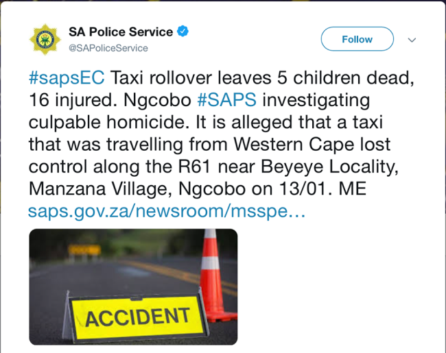Twitter@SAPoliceService]