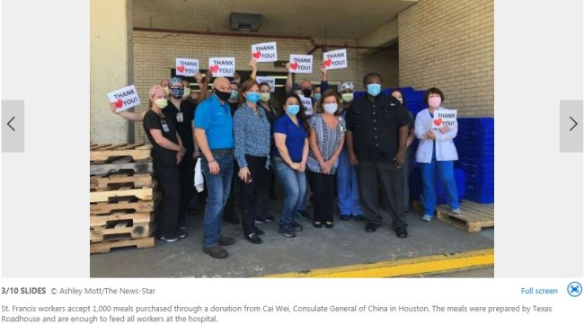 Consulate General of China in Houston donates 1000 meals to St. Francis Medical Center in Monroe, Louisiana. [Photo: screenshot taken from report by msn.com]